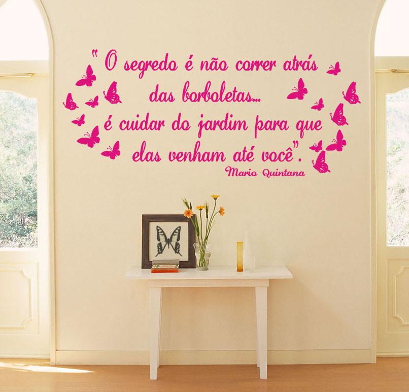Adesivos decoração Frases com borboletas GAUDESIVOS Elo7 ~ Adesivo De Parede Quarto Frases