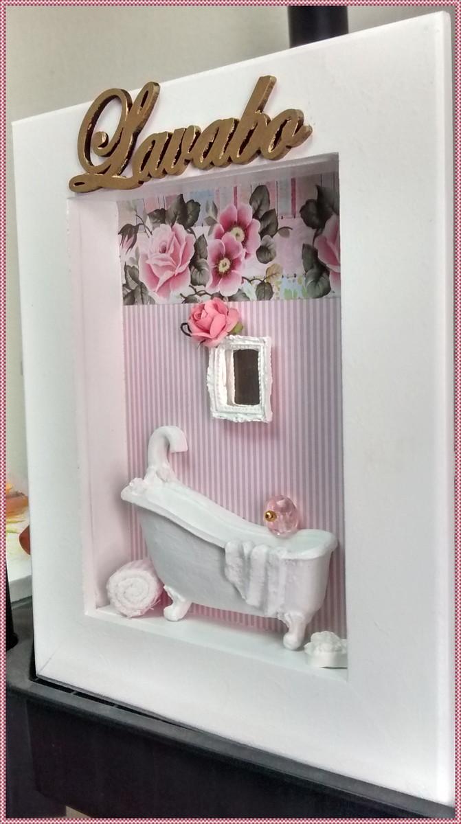Quadrinho LavaboBanheiro  Romântico  Atelier by Dreams  Elo7 -> Decoracao Banheiro Spa