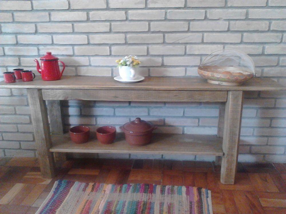 Artesanato Indigena Onde Comprar ~ Aparador de madeira rústico Aconchegando Ateli u00ea Croche Elo7