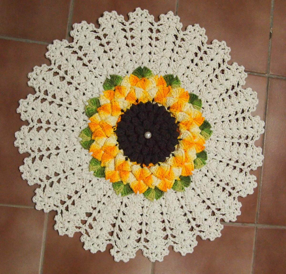 tapete redondo flor mega girassol croches da elsa elo7