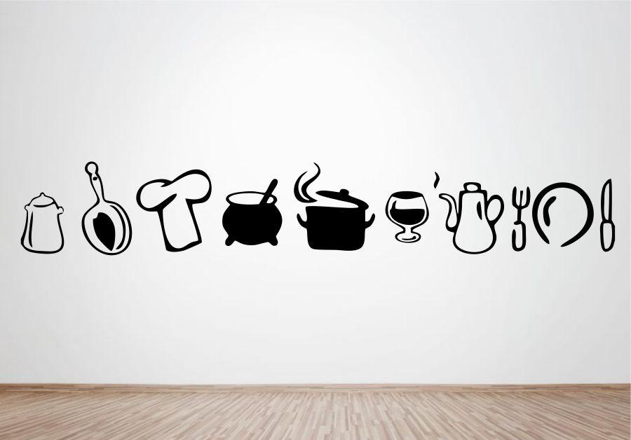 Aparador Vitrina Hemnes ~ Adesivo de Parede Utensílios de Cozinha Wegloo Elo7