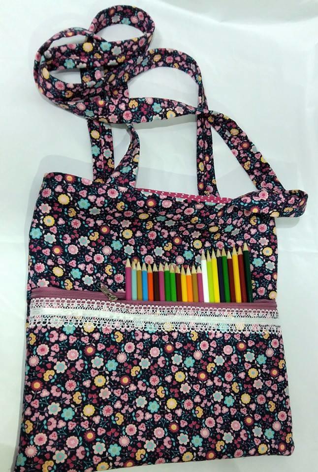 Bolsa De Tecido Para Carregar Livros : Bolsa para livros de colorir varal pano elo