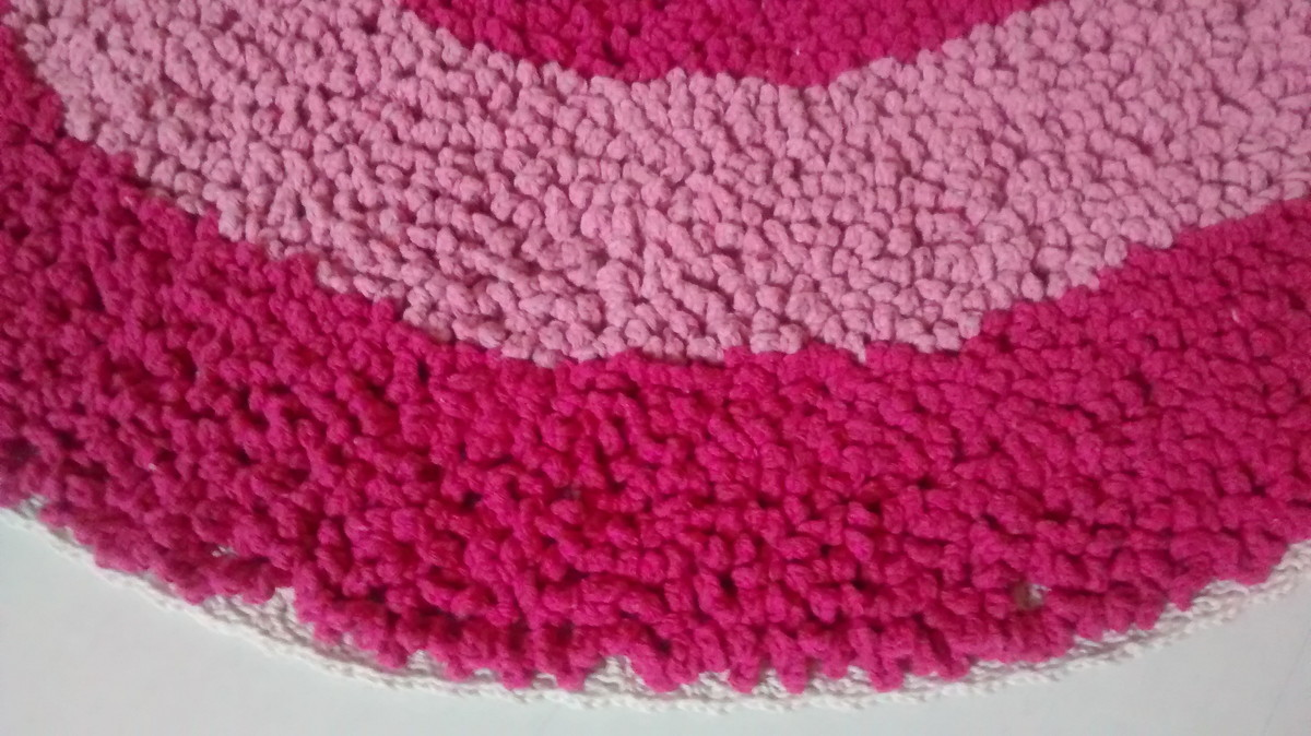 Tapete Rosa Bebe Redondo : > Decora??o > Tapete de Croch? > Tapete Redondo Fofinho Rosa 1m