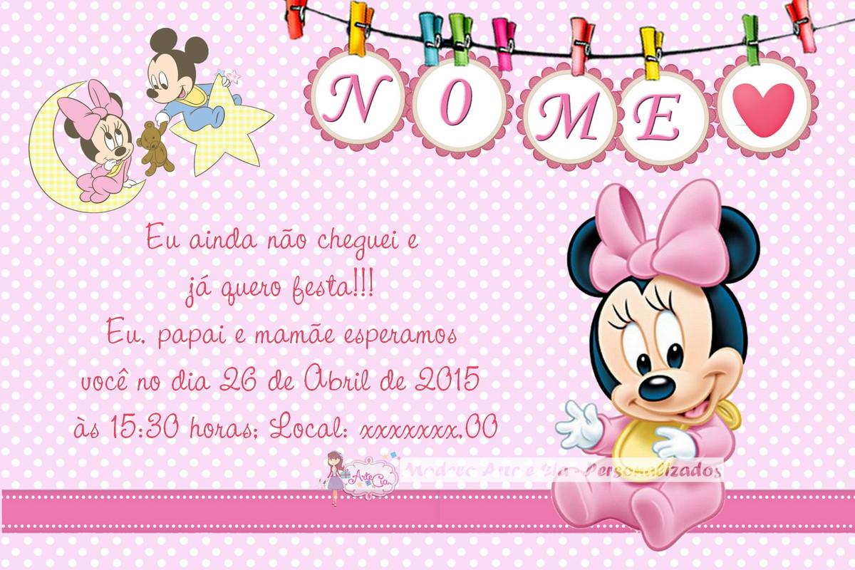 Convite ch de beb baby minnie arte e cia personalizados elo7 - Image minnie bebe ...