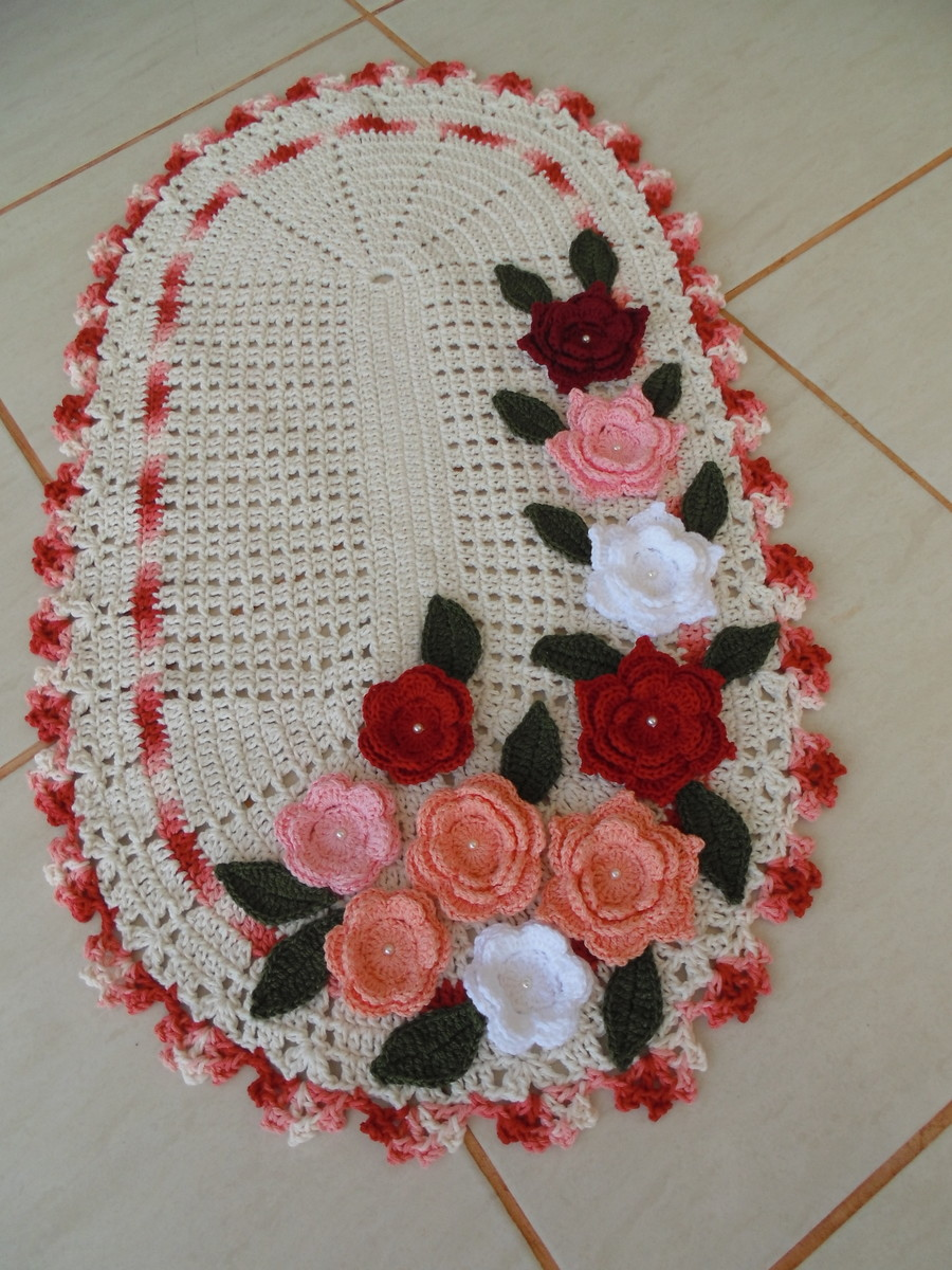Tapete floral maria am lia croch elo7 for Tapete floral