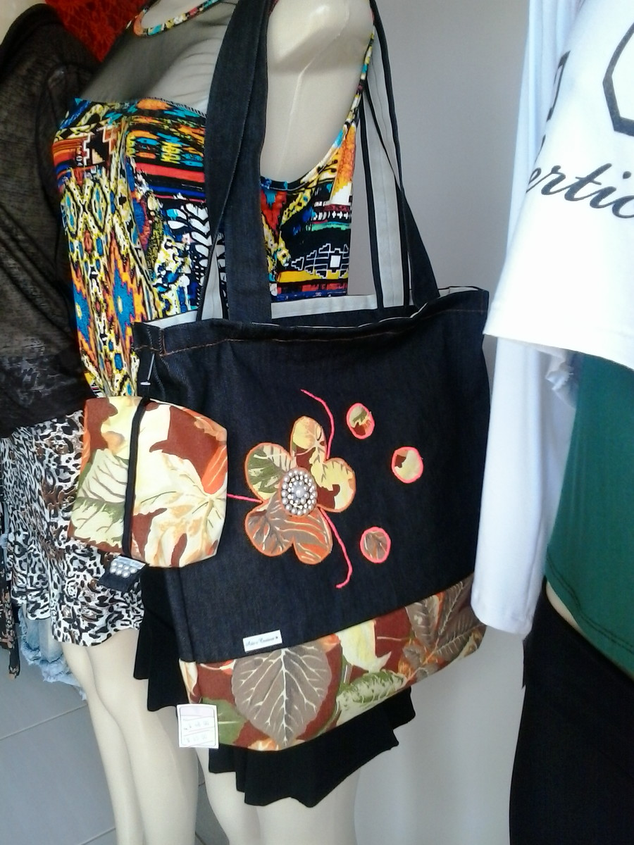 Aparador Extensivel Kane ~ bolsa artesanal tecido jeans com bordado Ateli u00ear Arte e Costura Elo7