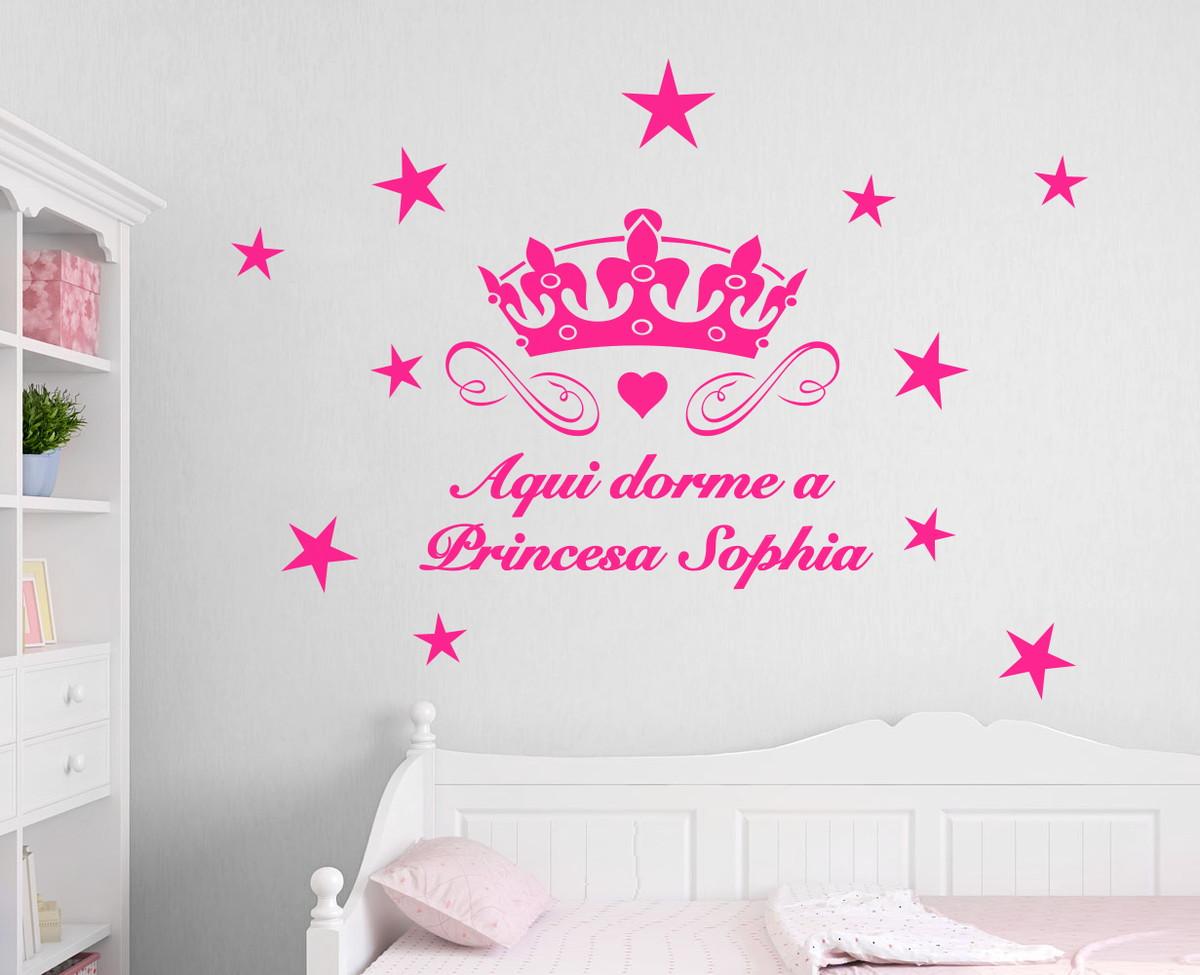 Adesivo infantil Aqui dorme uma princesa Iloveart  ~ Adesivos De Parede Para Quarto De Bebe Feminino