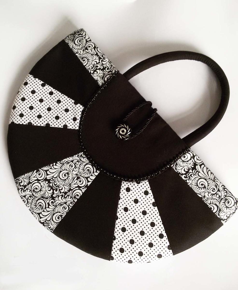 Bolsa De Tecido Redonda : Bolsa de m?o redonda em patchwork paula cruz artes e