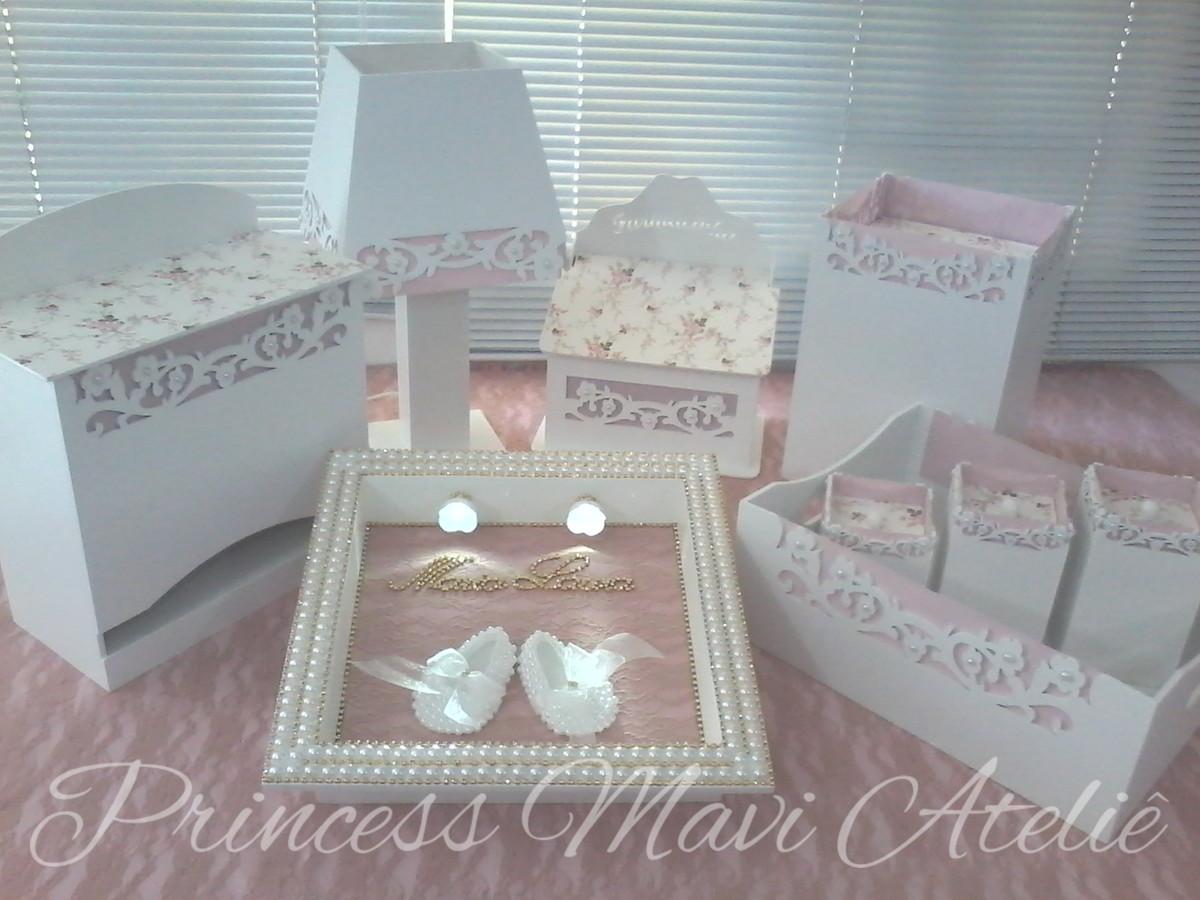 Enfeite De Kit ~ KIT DE HIGIENE FLORES COROA COM PEROLAS Princess Mavi Ateli u00ea Elo7
