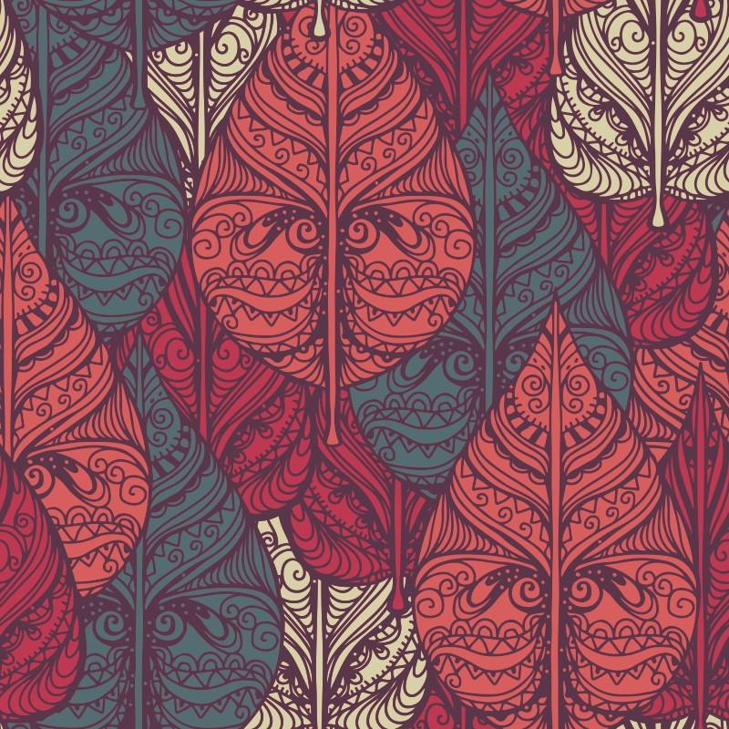 Papel de parede folhas abstratas qcola elo7 - Papel decorativos para paredes ...