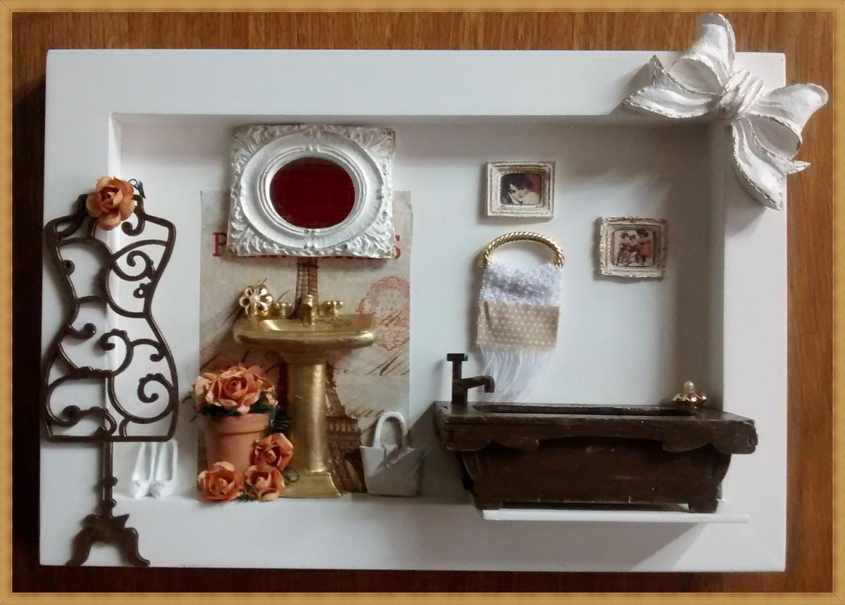 quadro cenario banheiro vintage decoracao casa quadro cenario banheiro #6E4528 1200 860