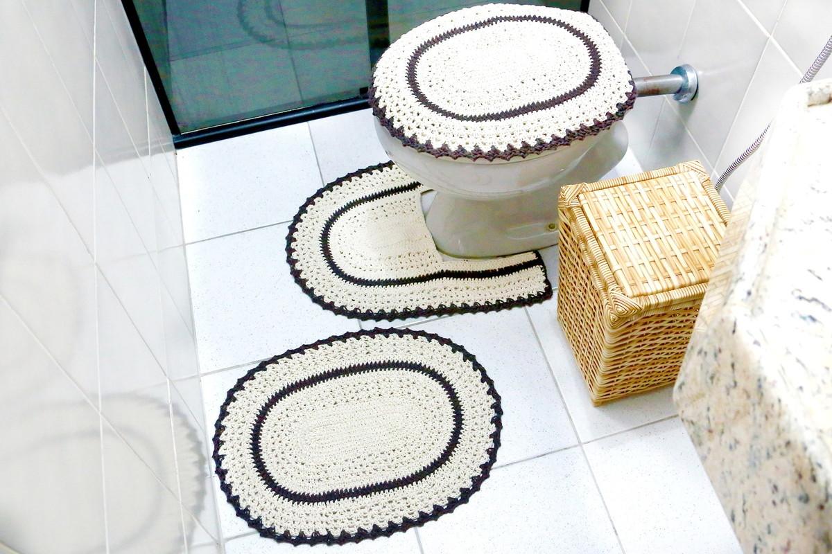 jogo de banheiro croche colorido preto jogo de banheiro barbante #926C32 1200x800 Banheiro Azul Com Preto
