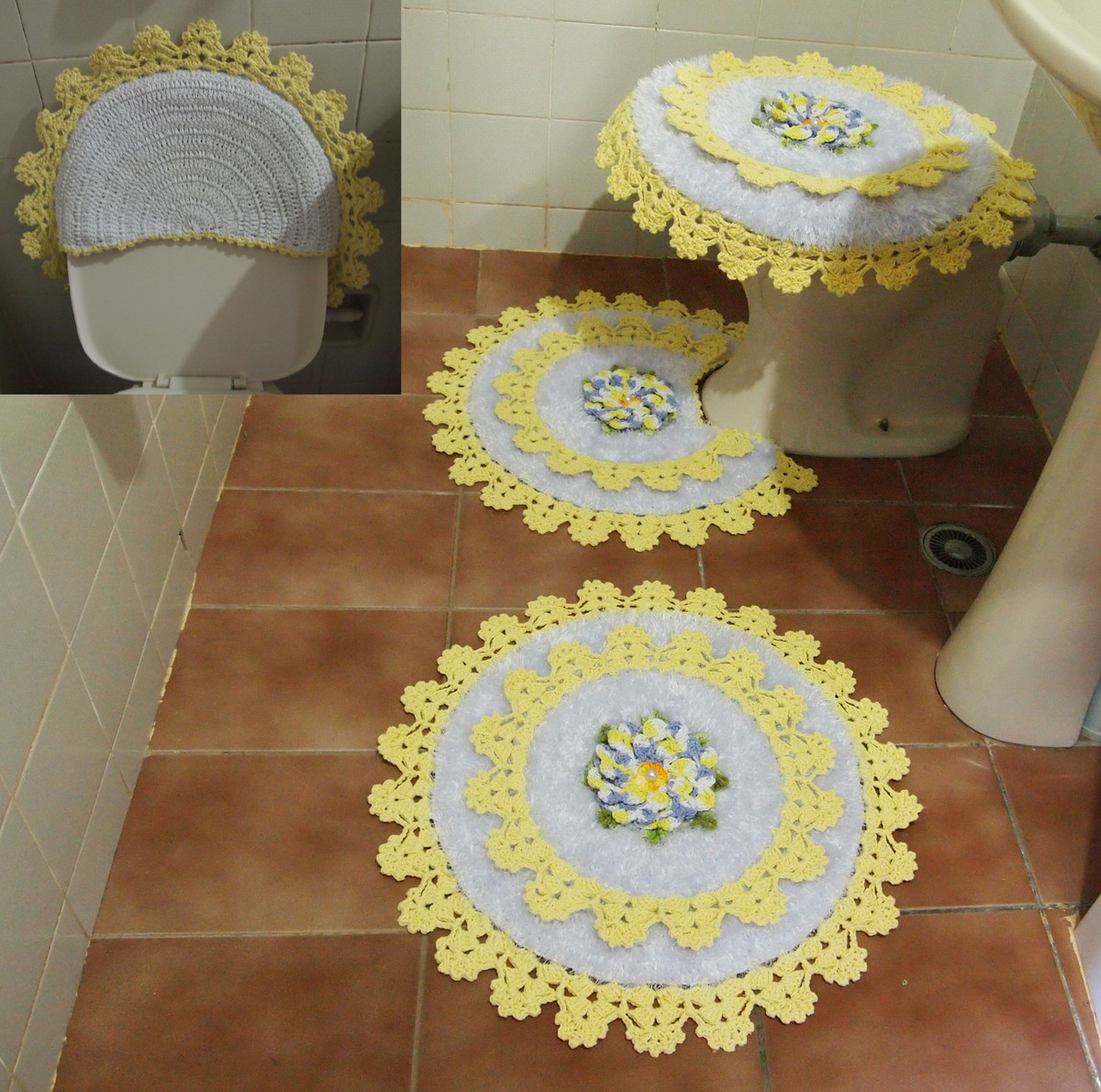 Jogo Banheiro AmareloBranco Flor Dalia  CROCHES DA ELSA  Elo7 -> Jogo De Banheiro Simples Oval Passo A Passo