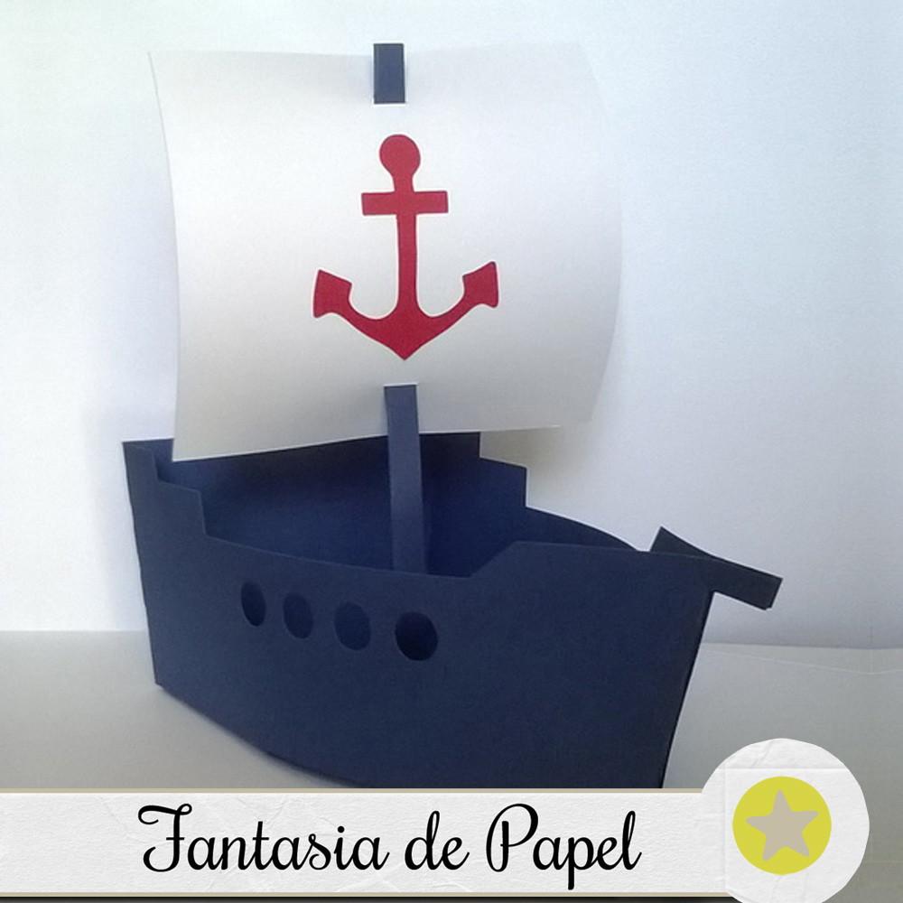 Barco centro de mesa marinheiro em papel fantasia de - Centros de mesa de papel ...