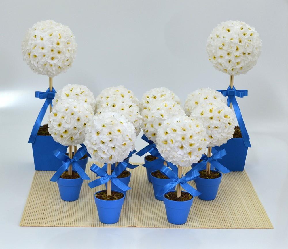 Kit Decoraç u00e3o de Festa Azul Bebeca Artesanato Elo7 -> Decoração Simples De Aniversário Com Tnt