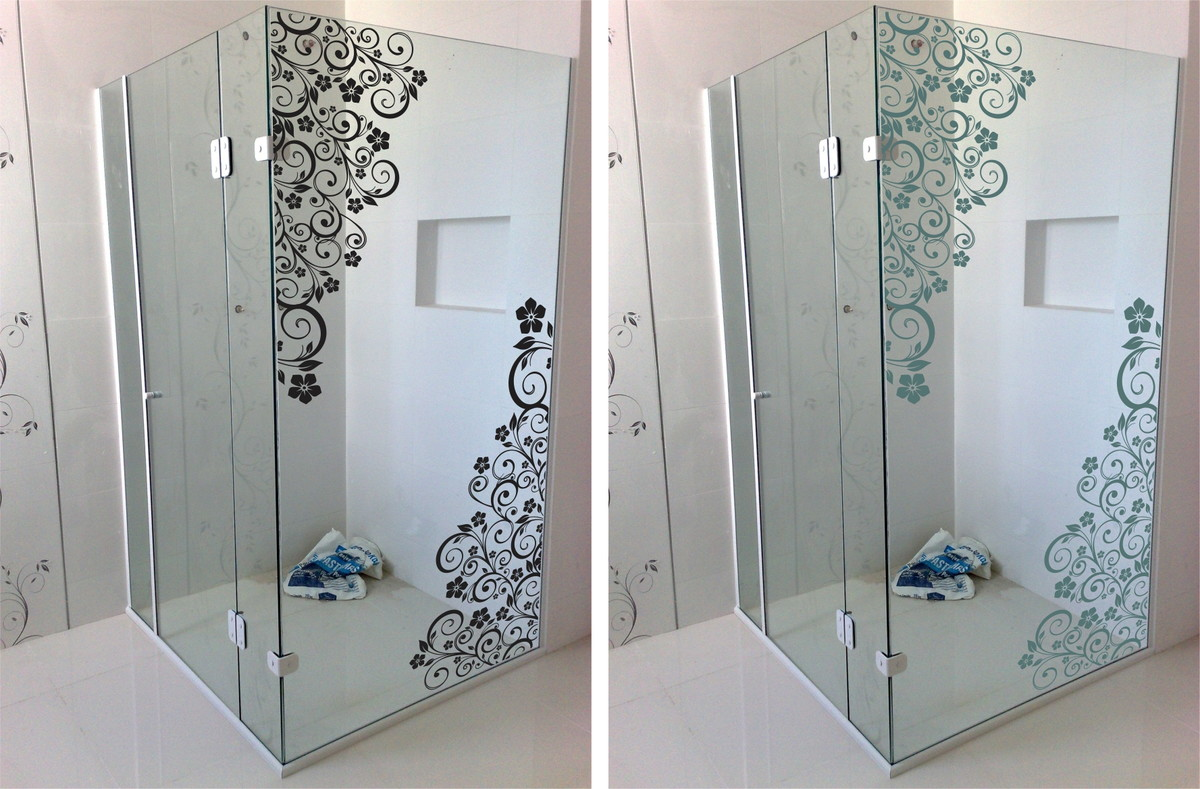 Imagens de #3B4F5F  banheiro floral blindex decoracao banheiro adesivo box banheiro floral 1200x789 px 3514 Blindex De Banheiro Rj