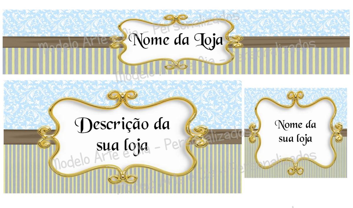 Artesanato Samira Papelaria E Bazar ~ Kit Loja Virtual elo7 Azul e Dourado Arte e Cia Personalizados Elo7