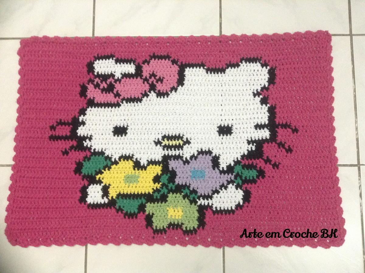 tapete croche hello kitty flores arte em croche bk elo7. Black Bedroom Furniture Sets. Home Design Ideas