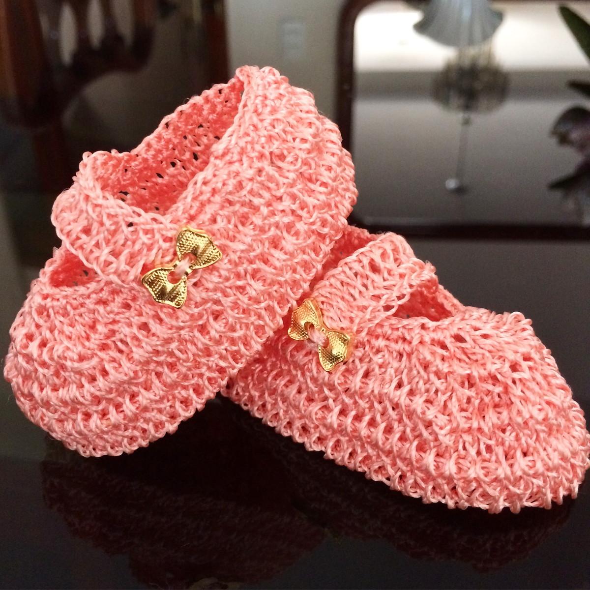 Sapato infantil princesa em croch rosa santa for Craft store santa rosa