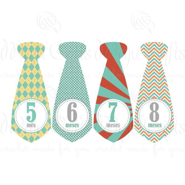 Adesivo Mesversario Imprimir ~ Kit Adesivo gravata Mesversário Vintage Maju Gifts Elo7