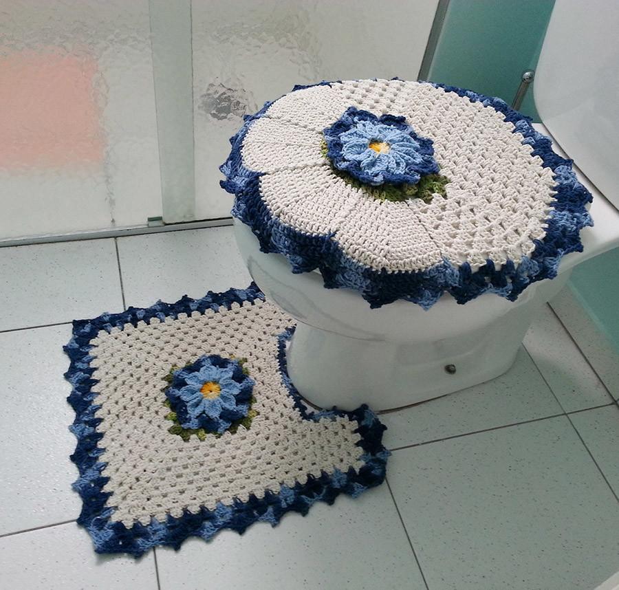 Jogo Banheiro Azul Croche : Jogo de banheiro azul artes da li elo