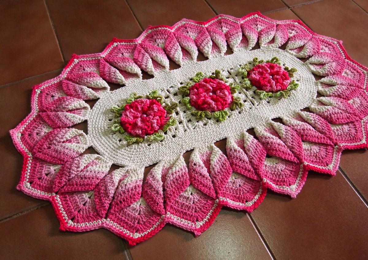 Tapete com bico torcido tons rosa cru croches da elsa elo7 for Rosa tapete