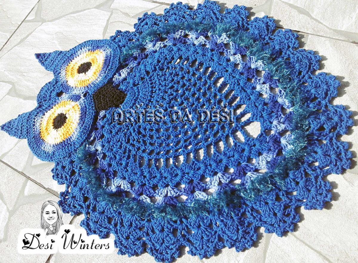 15 Jogo De Banheiro Corujas 3 Pecas Azul Tapete Crochejpg #A78F24 1200x882 Banheiro Azul