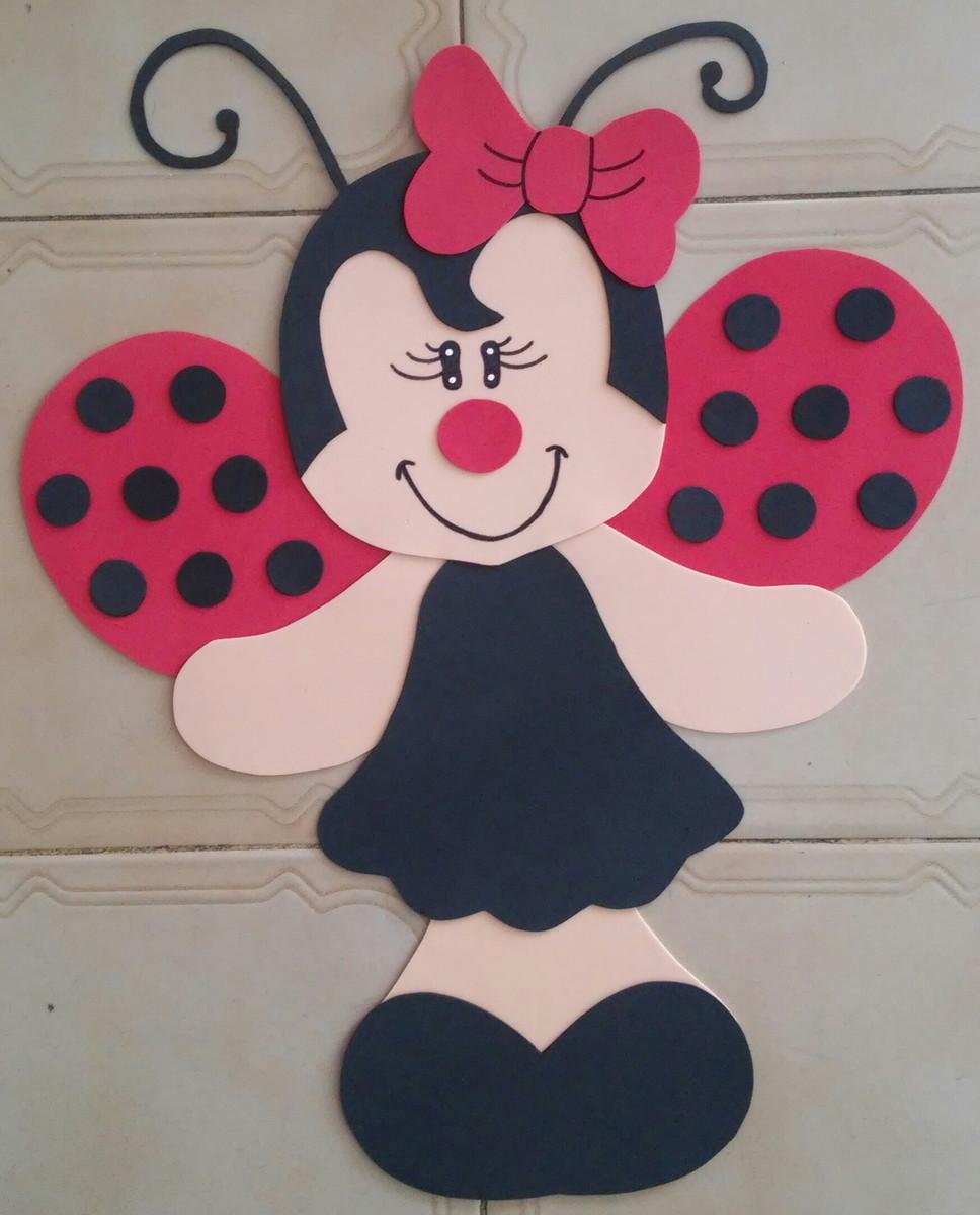 Decoração Com Eva ~ Painel Joaninha para parede em eva Arte da Brina Elo7