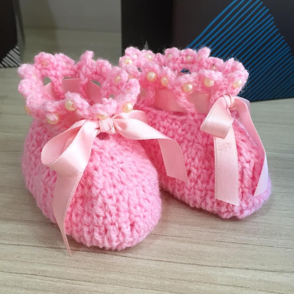 Sapato infantil mimo em croch rosa santa criatividade for Craft store santa rosa