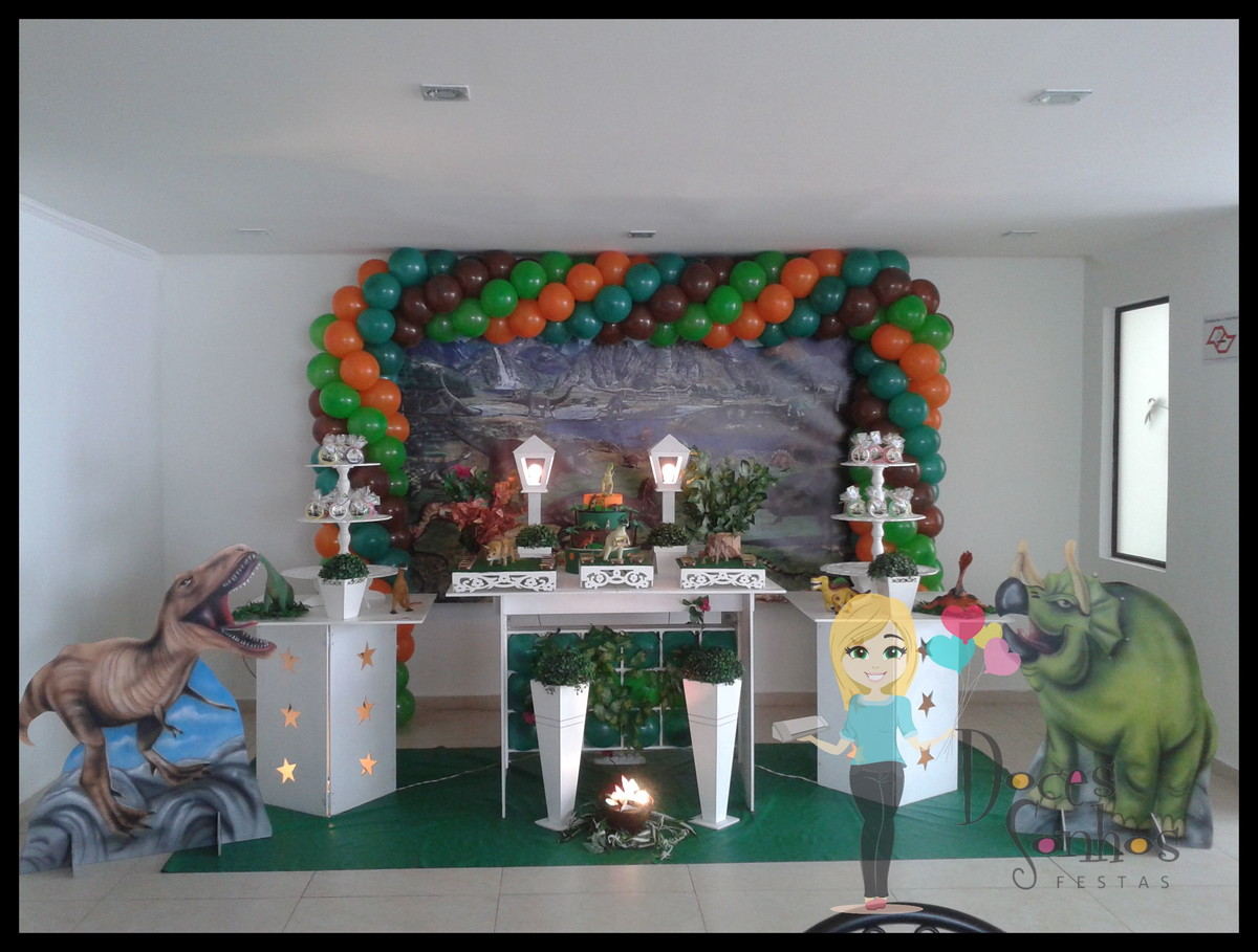 Decoraç u00e3o provençal clean dinossauros no Elo7 Atelier Doces Sonhos Festas By Vanessa Heckert  -> Decoração De Mesa Festa Dinossauro