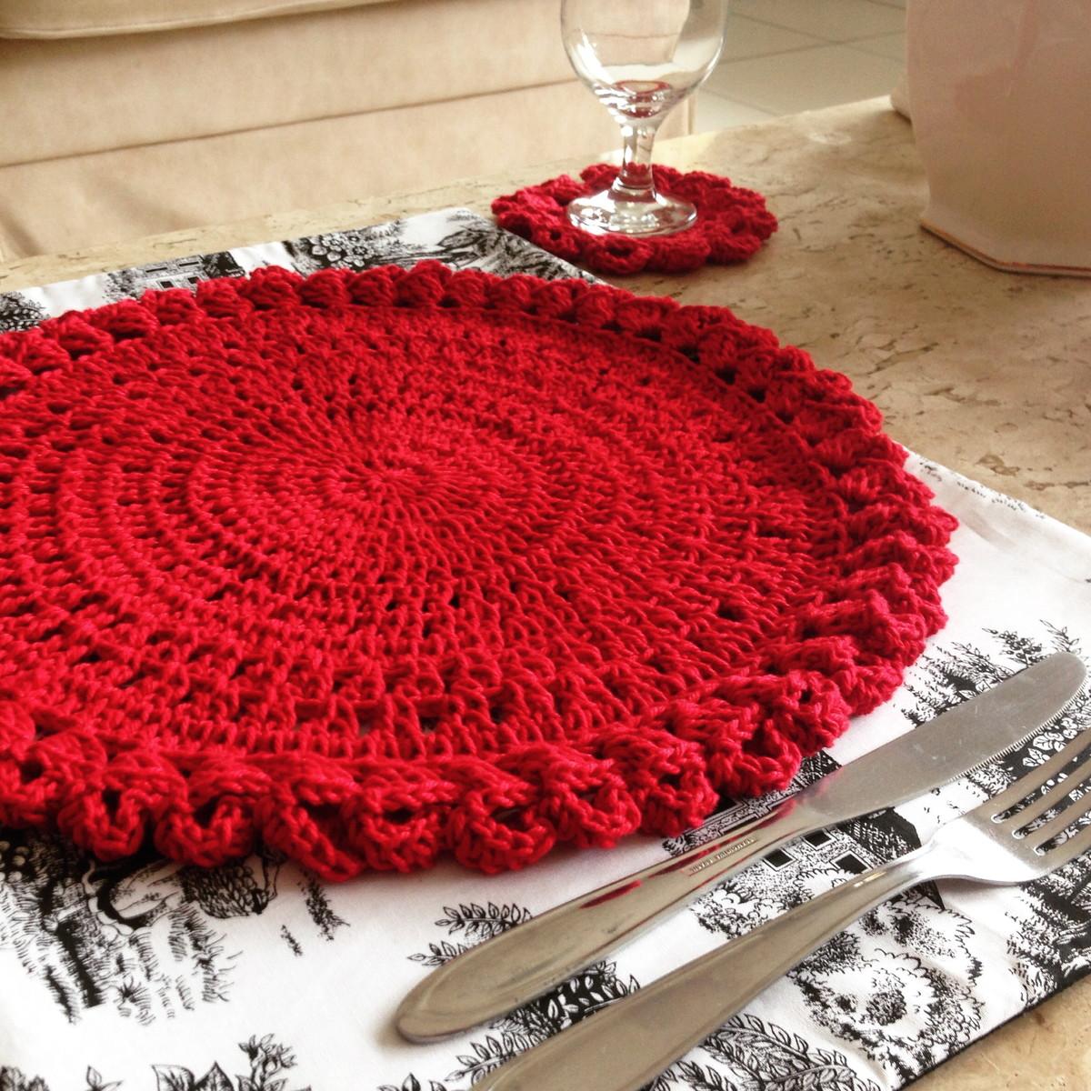 Conjunto de mesa em croch concha santa criatividade for Craft store santa rosa