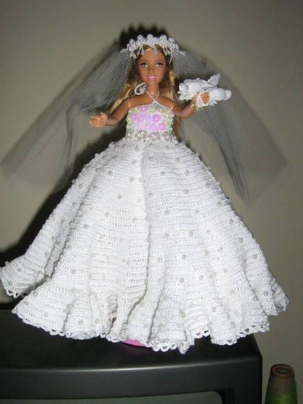 Barbie Noiva ~ BONECA BARBIE COM VESTIDO DE NOIVA LENACROCHET Elo7