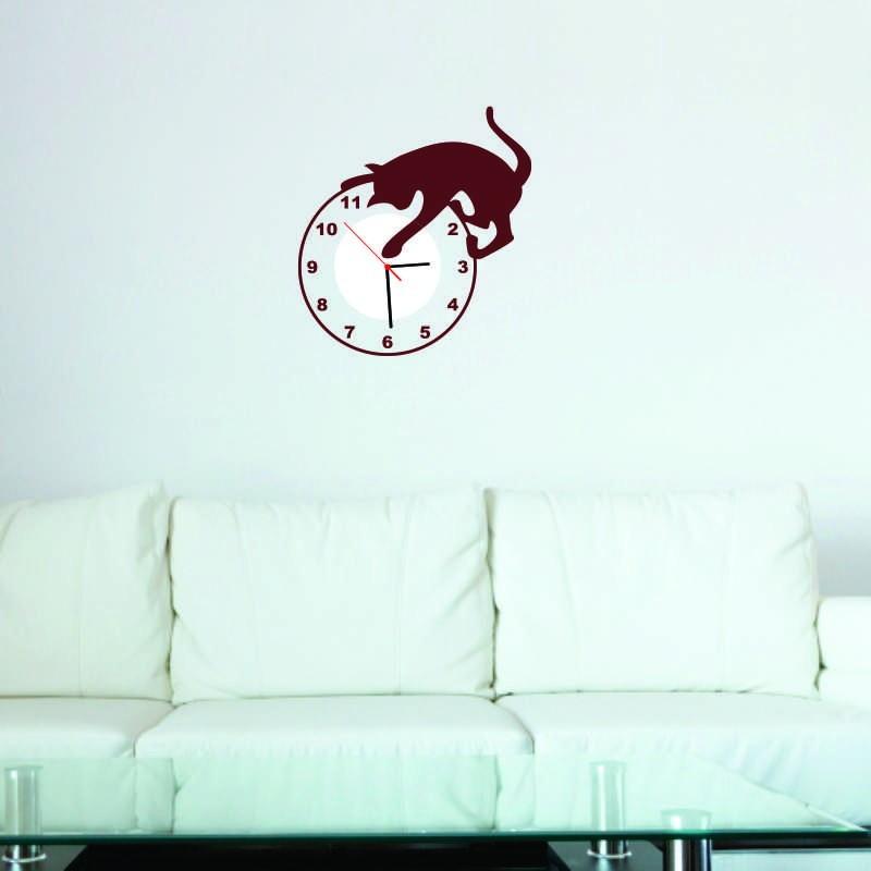 Aparador De Pelos Feminino Eletrico ~ Adesivo Decorativo Relógio Gatinho no Elo7 Adesivos Dicolar (5886AA)