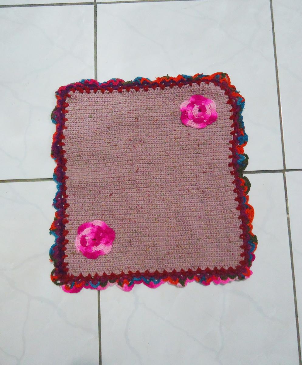 tapete croche pink com flores barbante barroco redondo. Black Bedroom Furniture Sets. Home Design Ideas