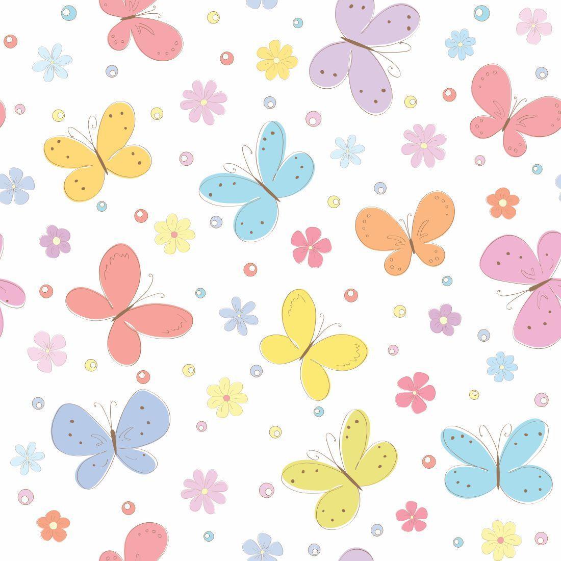 Papel de parede para quarto infantil borboletas yazzic for Papel pared infantil