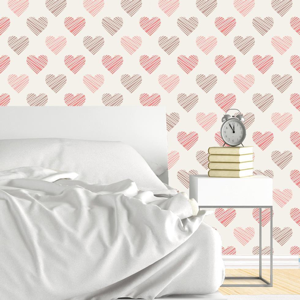 Artesanato Quadros Decorativos Passo A Passo ~ Papel de parede coraç u00e3o Decor 32 Crie Decore Elo7
