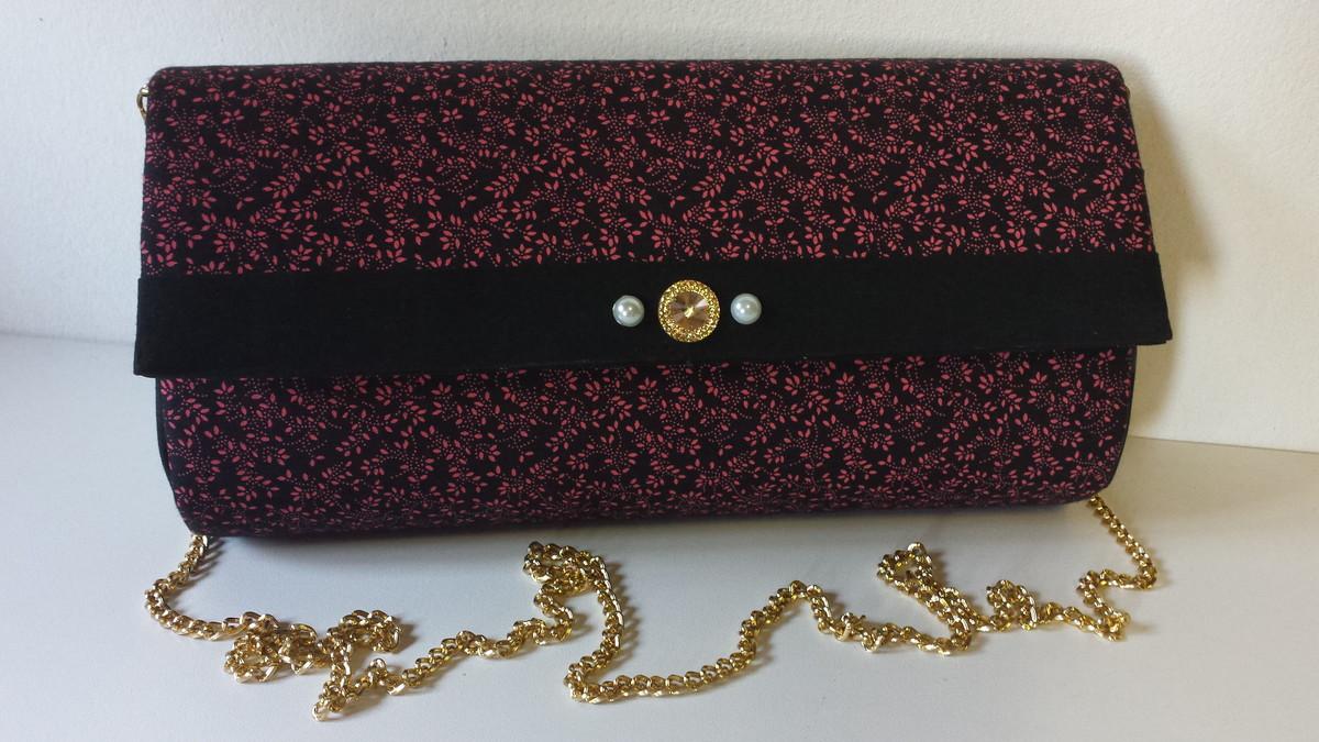 Bolsa De Festa Rose : Bolsa de m?o rosa e preto ateli? carolina becher elo