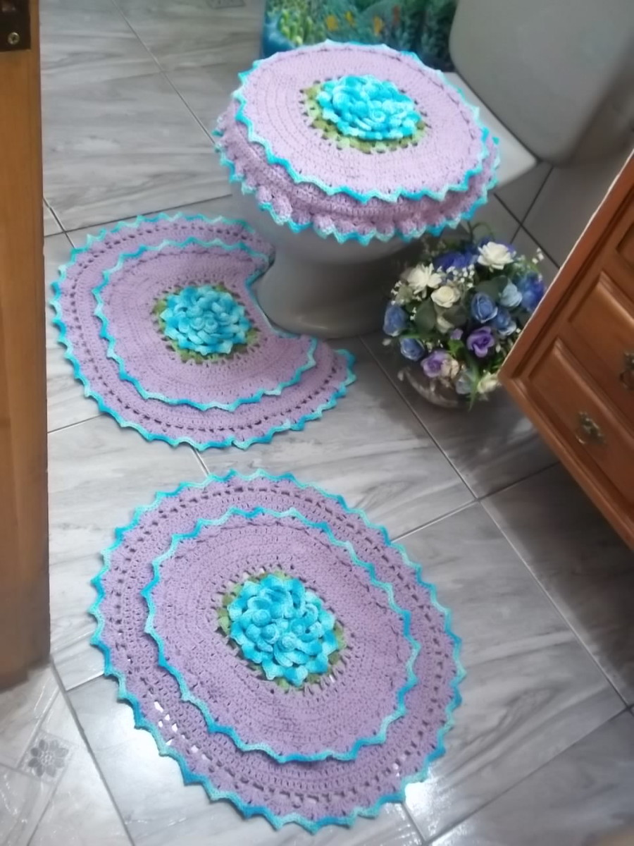 Tapete Floral Para Banheiro : jogo de banheiro oval flor de maio casa jogo de banheiro oval flor de