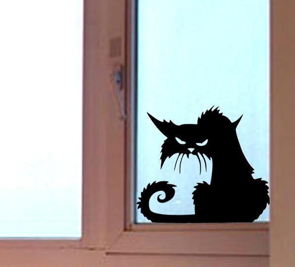 Aparador Vitrina El Corte Ingles ~ Adesivo Gato Preto para Halloween Casa da Vó Maria Elo7