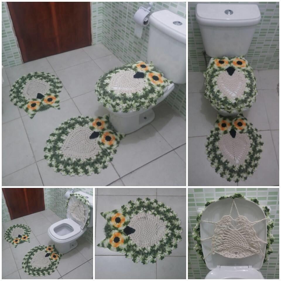 Jogo de Banheiro Coruja (3 peças)  Claudenice Crochê & Tricô  Elo7 -> Decoracao De Banheiro Roxo