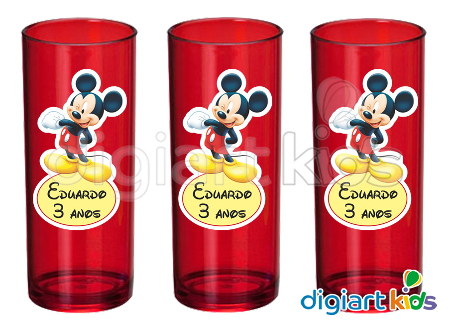 Onde Colocar Aparador Na Sala ~ Adesivo Vinil para Long Drink Mickey DigiArt Kids Elo7
