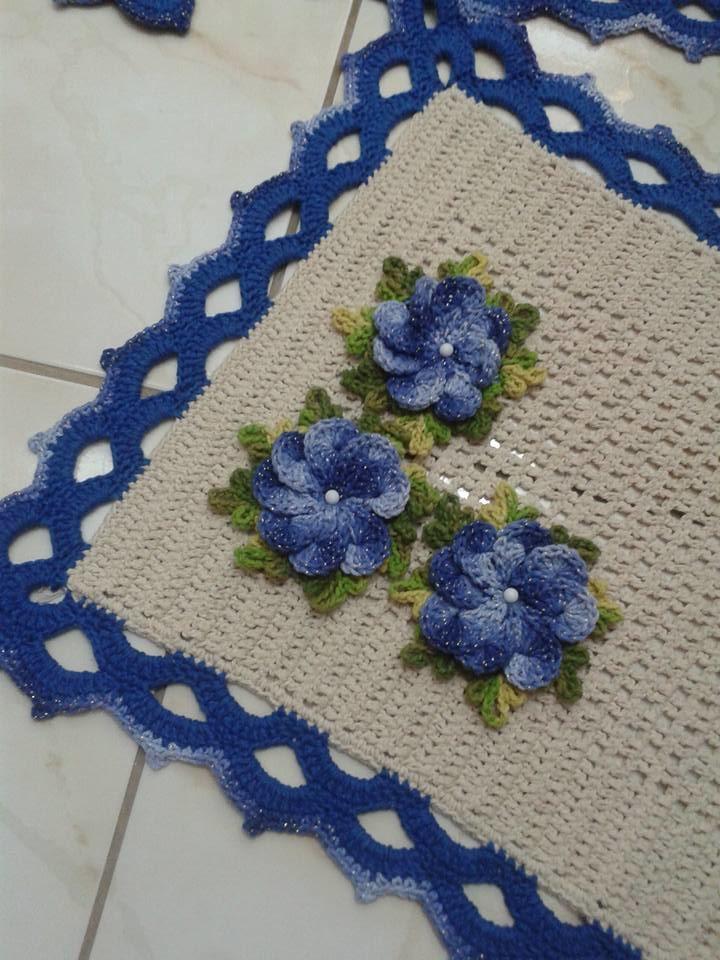 Jogo De Banheiro Azul Em Croche : Jogo de banheiro azul magia do croche elo
