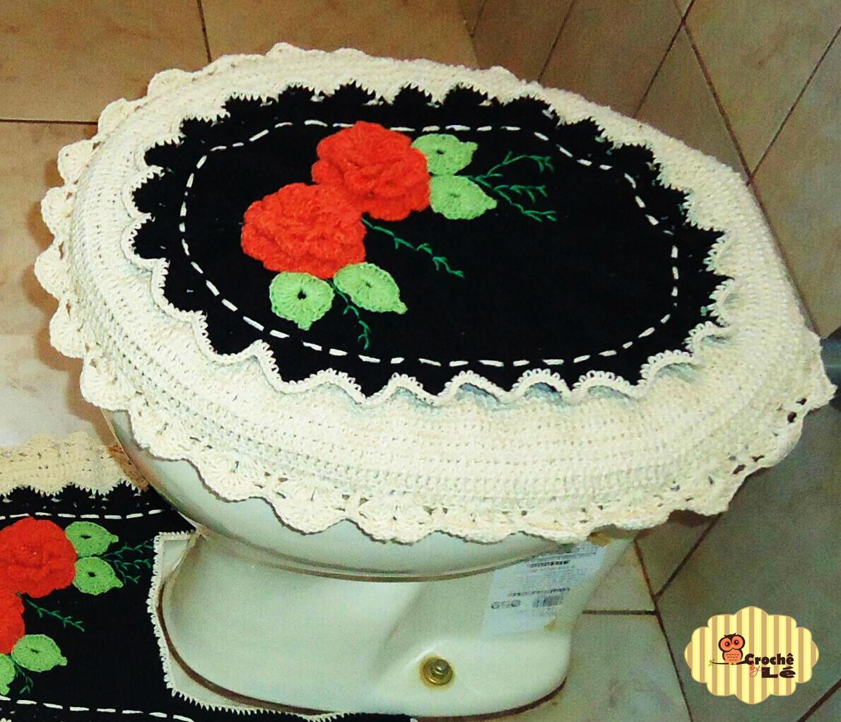Jogo De Banheiro De Crochê 3 Peças Frete Grátis Pictures to pin on  #B62615 1190x1022 Balança Para Banheiro Frete Gratis