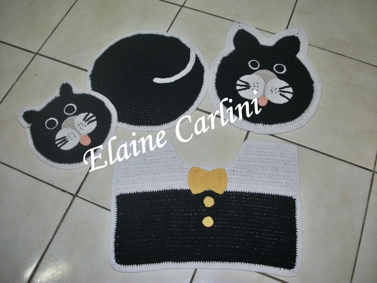 Jogo De Banheiro De Gato Croche : Jogo de banheiro gato elaine carlini elo