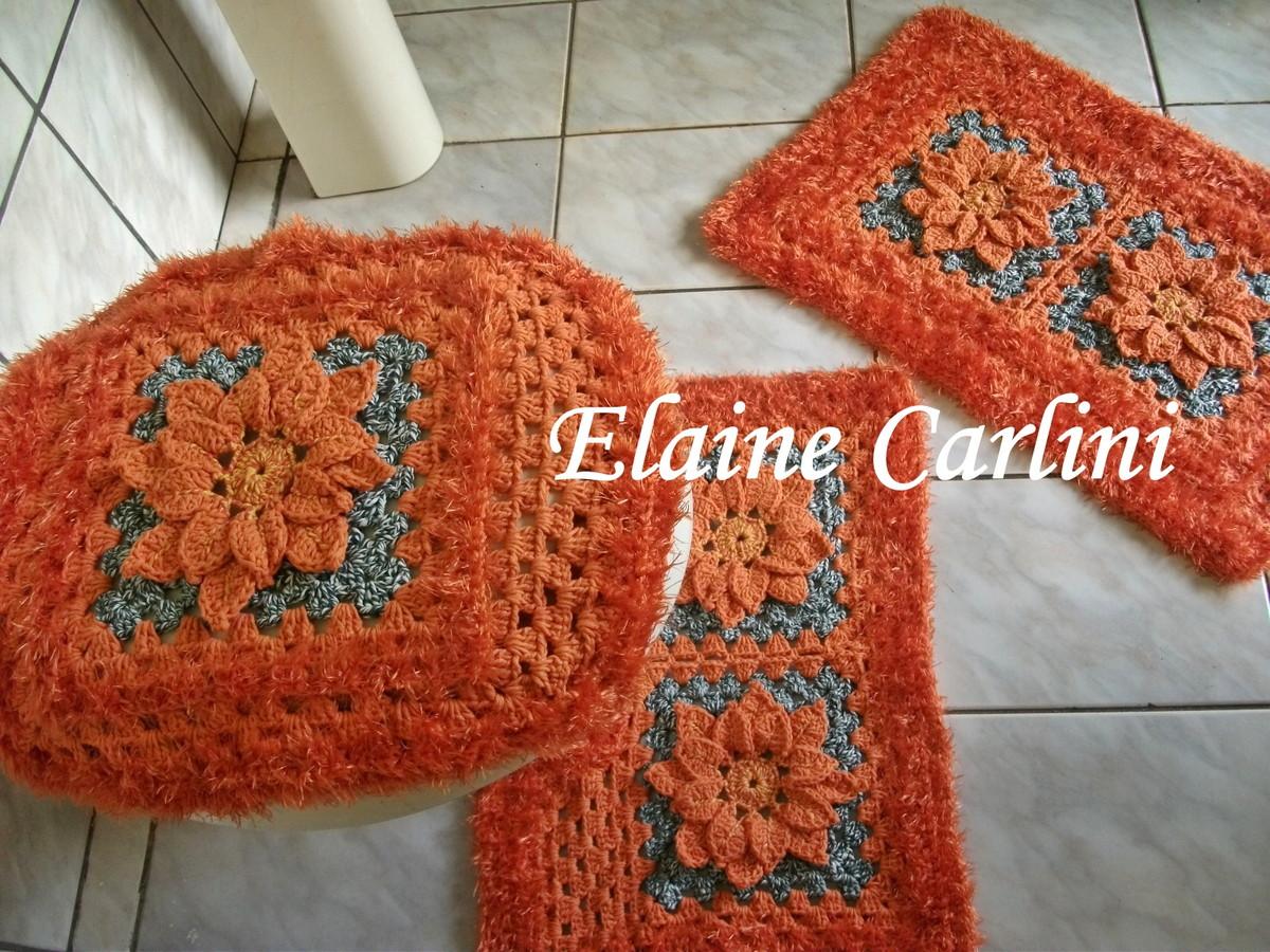 Jogo de banheiro laranja  Elaine Carlini  Elo7 -> Decoracao Banheiro Laranja
