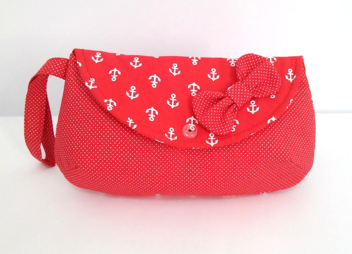 Bolsa De Mão Essencial : Bolsa de m?o cluth navy vermelho candido artes elo