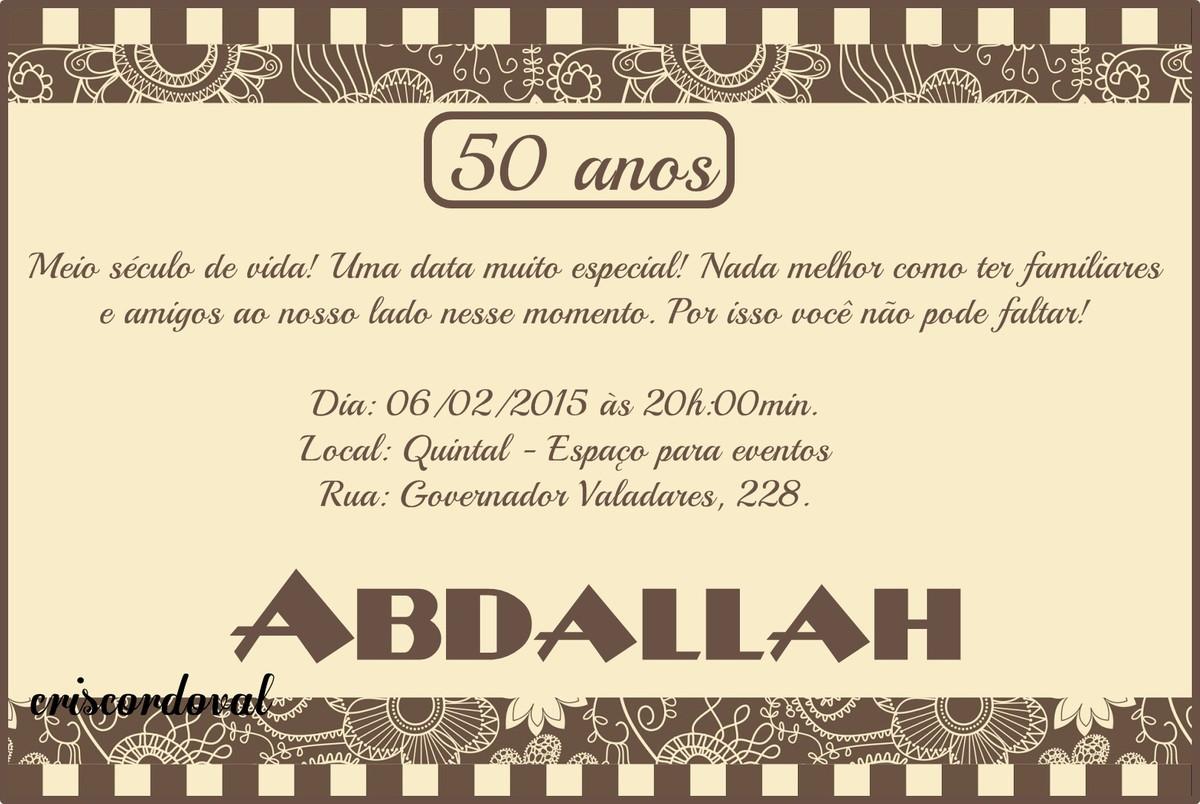 Quero Montar Meu Convite De 50 Anos: Cristina Borges Cordoval (5CD084