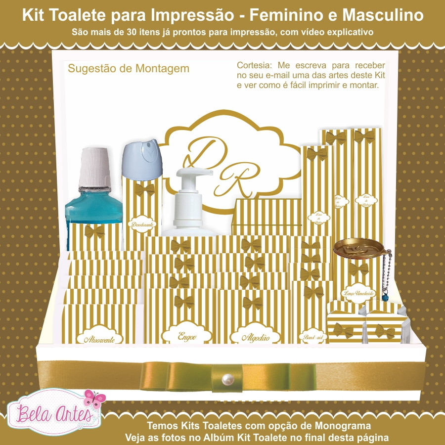 Kit Banheiro Casamento Moldes Dourado : Kit toalete para imprimir sem monograma bela artes