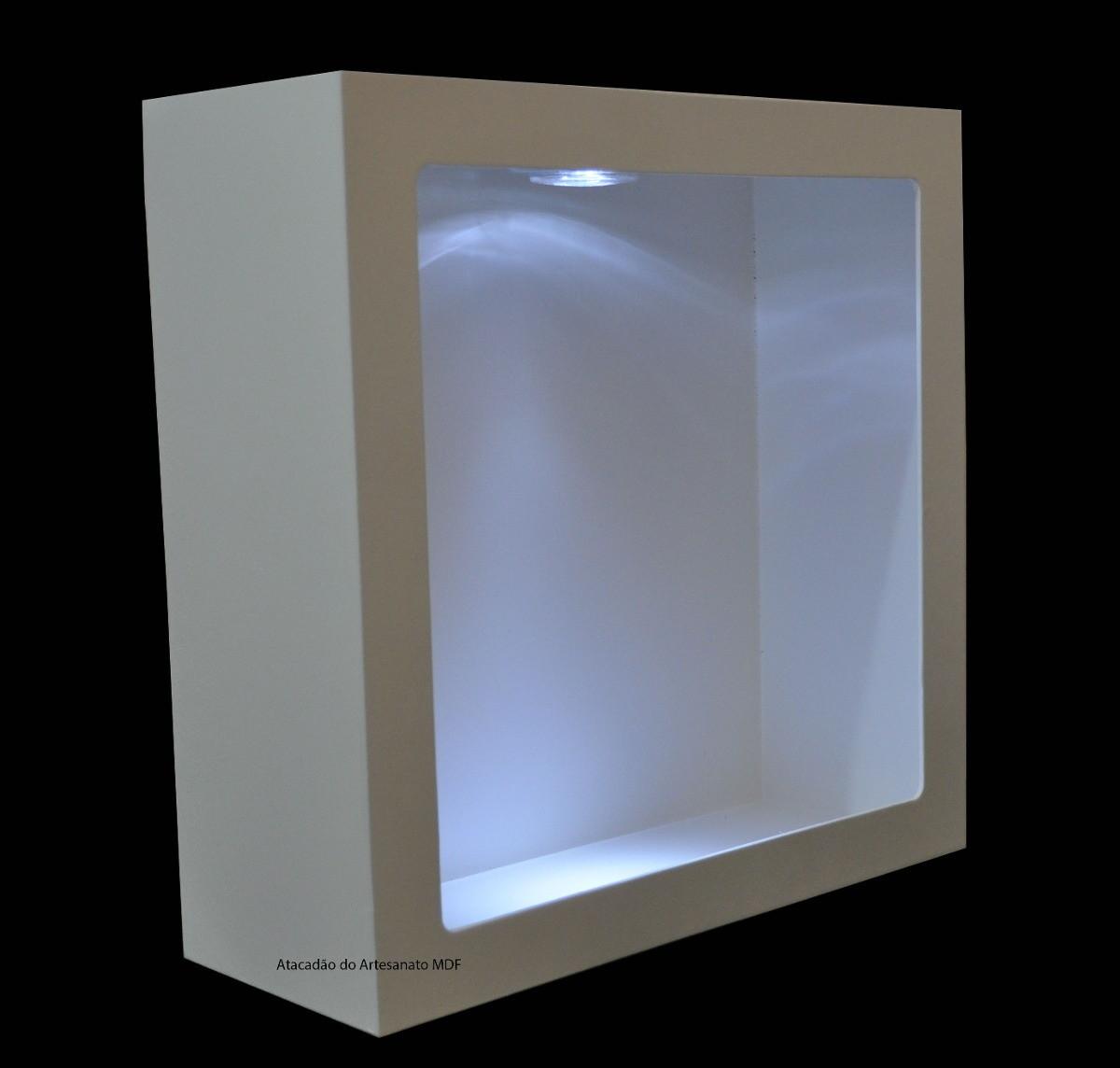 Nicho Quadrado Simp 37x37x12 Bco Cled  Atacadão do Artesanato MDF  Elo7 -> Nicho Banheiro Led