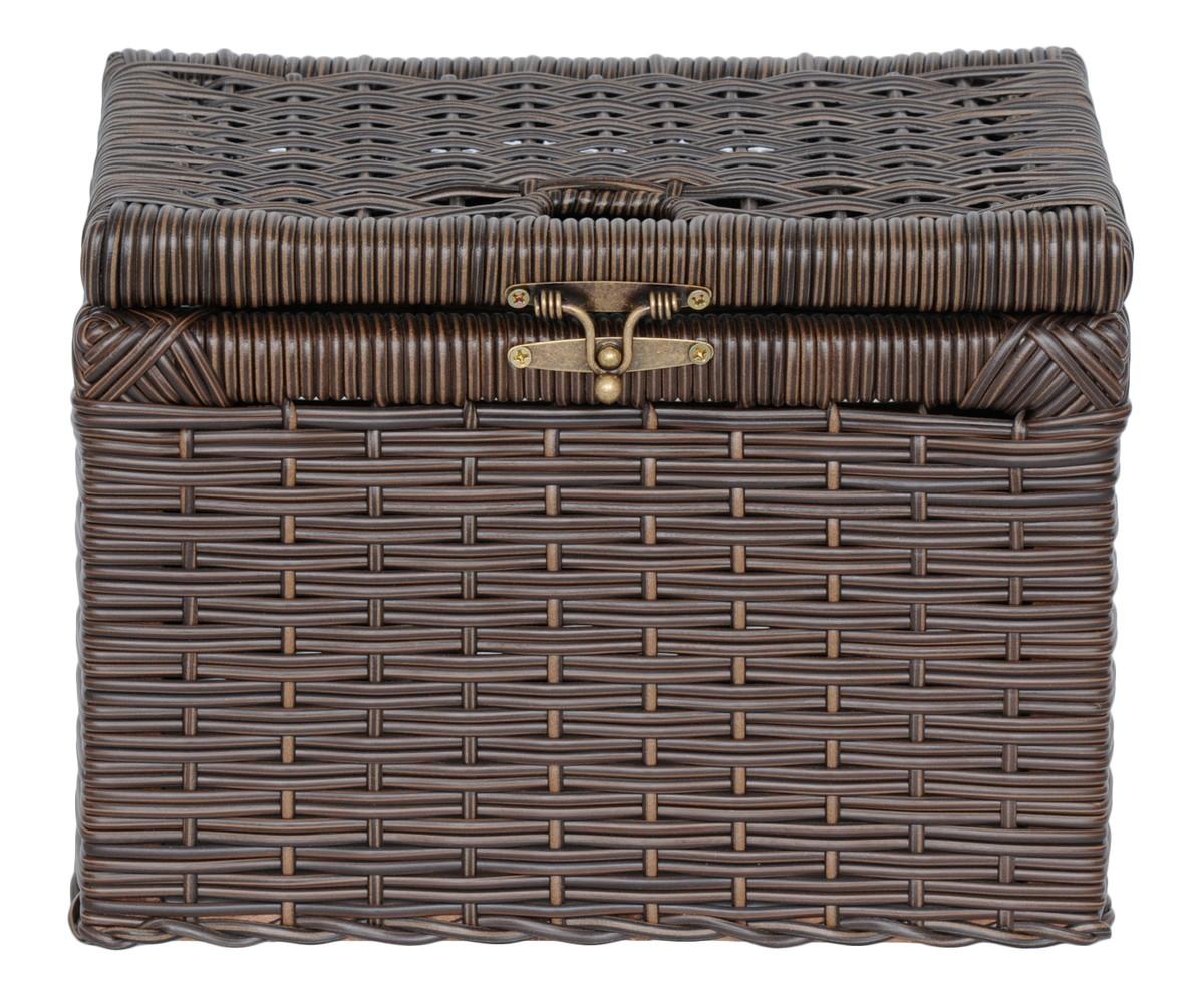 caixa cesta com tampa fibra sintetica decoracao caixa cesta com tampa  #886E43 1200x993